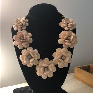 Pink J. Crew statement flower necklace